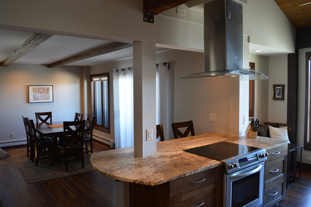 a family condo but made few improvements over the past 30 years  a  desire to transform the home into a vacation rental prompted a complete  renovation. mountain condo remodel   workshop four five  inc
